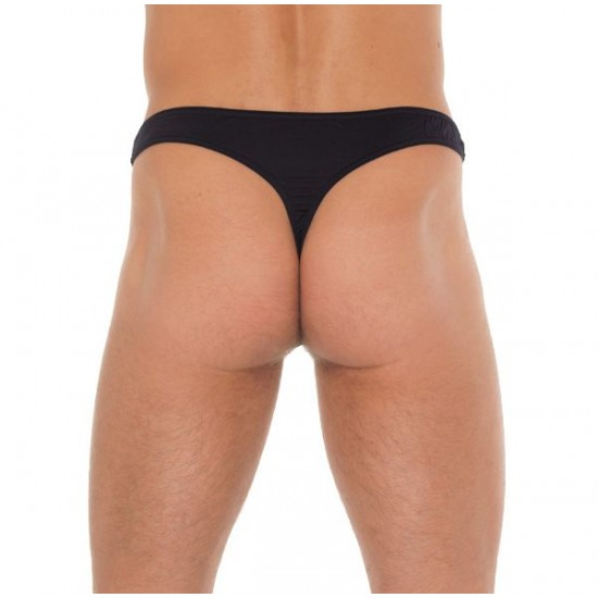Mens Black GString With A Net Pouch
