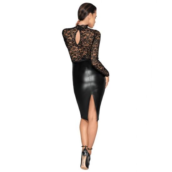 Noir Black Lace and Wet Look Pencil Dress