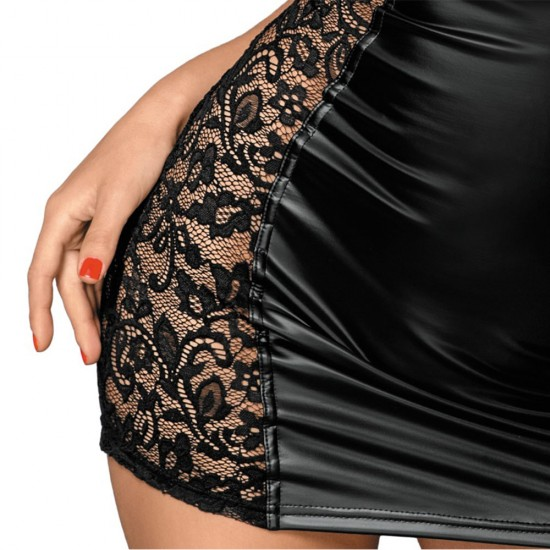 Noir Black Lace and Wet Look Tight Mini Dress