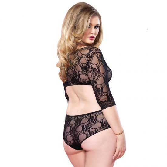 Leg Avenue Cut Out Floral Lace Teddy UK 18 to 22