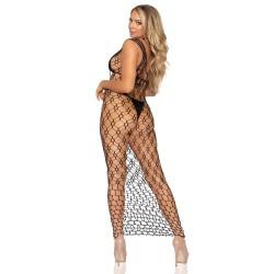 Leg Avenue Hexi Net Maxi Dress Black UK 8 to 14