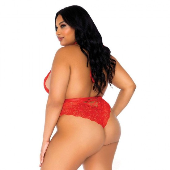 Leg Avenue Floral Lace Crotchless Teddy Red UK 18 to 22