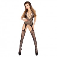 Passion Open Crotch Criss Cross Front Body Stocking Black