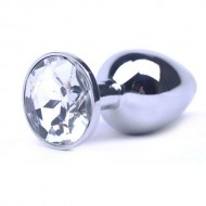 Large Metal Anal Plug With Clear Crystal