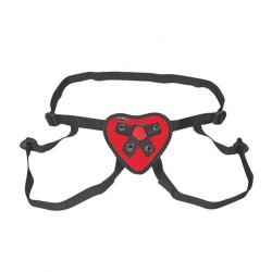 Lux Fetish Red Heart Strap On Harness