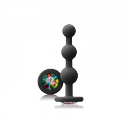 Glams Black Ripple Anal Plug Rainbow Gem