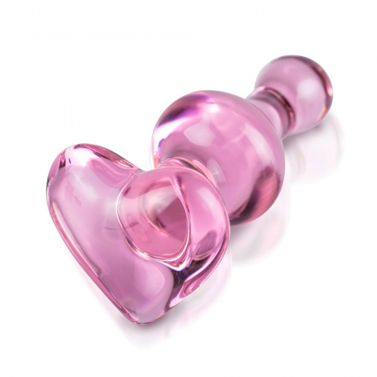 Icicles No.75 Pink Heart Glass Butt Plug