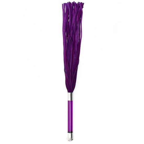 Purple Suede Flogger With Glass Handle And Crystal