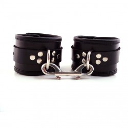 Rouge Garments Black Leather Ankle Cuffs With Piping