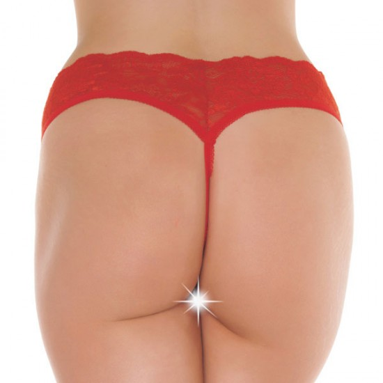 Red Lace Open Crotch GString