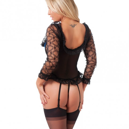 Blue And Black Basque With GString And Stockings